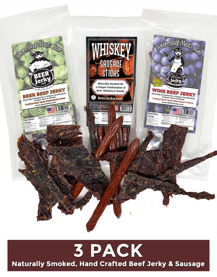 3Pack Beer and Wine Jerky Whiskey Sausage Sticks