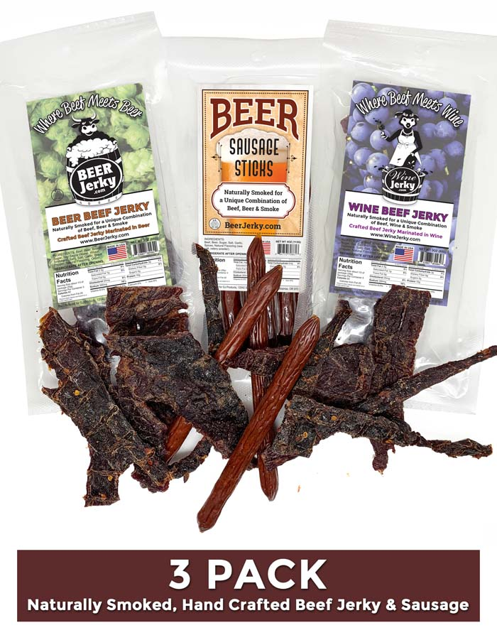 3Pack Beer and Wine Jerky Beer Sausage Sticks