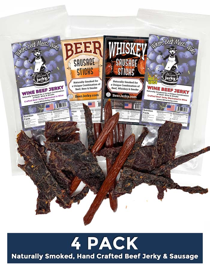 4Pack Beer and Wine Jerky Beer and Whiskey Sausage Sticks