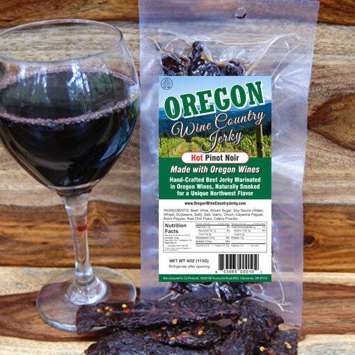 Oregon Wine Country - Hot Pinot Noir Beef Jerky BeerJerky.com Gourmet Beef Jerky Beer Jerky Wine Jerky Beef Jerky